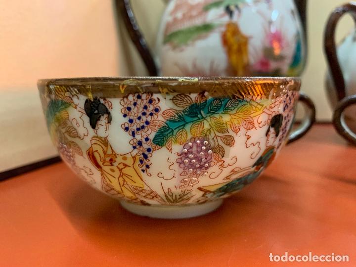 Antigüedades: Antiguo juego de te o cafe en porcelana Satsuma de Japon, cascara de huevo. - Foto 41 - 182226467