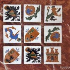 Antigüedades: 9 OLAMBRILLAS CERÁMICAS SERIE HERÁLDICA, TRIANA (SEVILLA). NUEVAS SIN USAR.. Lote 182232776
