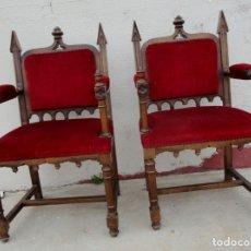 Antigüedades: PAREJA DE SILLONES NEOGOTICOS,MADERA DE NOGAL SXX. Lote 182276637