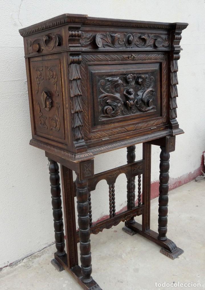 Antigüedades: Bargueño estilo renacimiento en madera tallada - Foto 2 - 182277471
