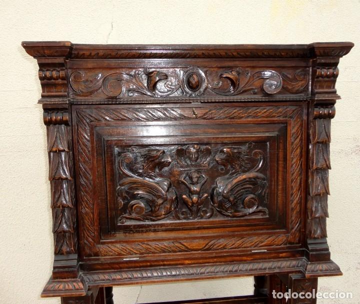 Antigüedades: Bargueño estilo renacimiento en madera tallada - Foto 4 - 182277471