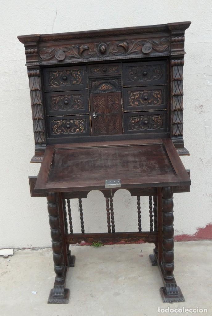 Antigüedades: Bargueño estilo renacimiento en madera tallada - Foto 9 - 182277471
