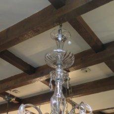 Antigüedades: GRAN LAMPARA DE 6 BRAZOS DE VIDRIO SOPLADO. Lote 182279162