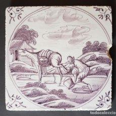 Antigüedades: ANTIGUO AZULEJO DELFT LILA SIGLO XVIII. Lote 182280973