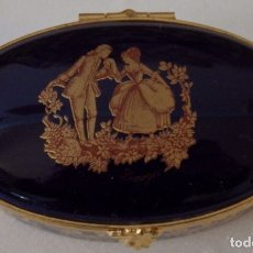Antigüedades: CAJA DE PORCELANA LIMOGES AZUL COBALTO PEQUEÑA. Lote 182284071