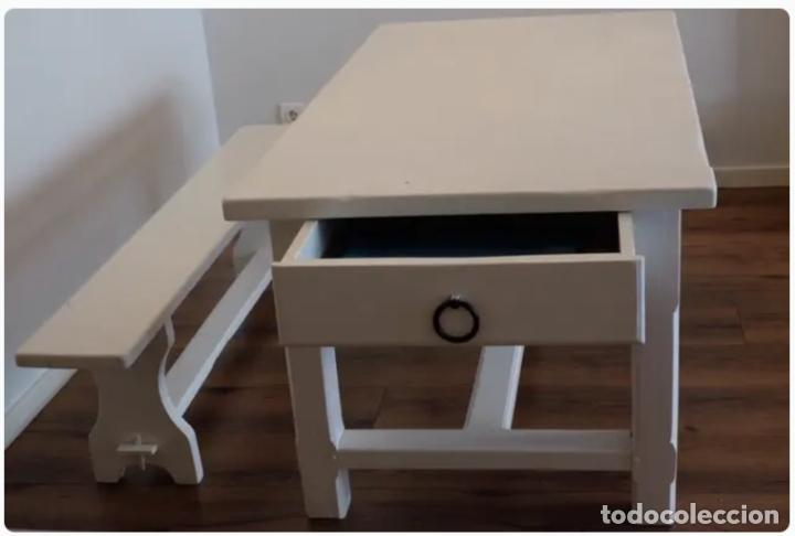 Antigüedades: Mesa de comedor y banco de madera - Foto 2 - 182284595