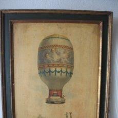 Antigüedades: ANTIGUO Y DECORATIVO CUADRO CON TEMÁTICA DE GLOBO AEROSTÁTICO. Lote 182291541