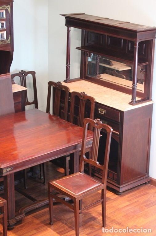 Antigüedades: Comedor inglés, años 20, caoba,dos aparadores, mesa y ocho sillas. - Foto 2 - 182293800
