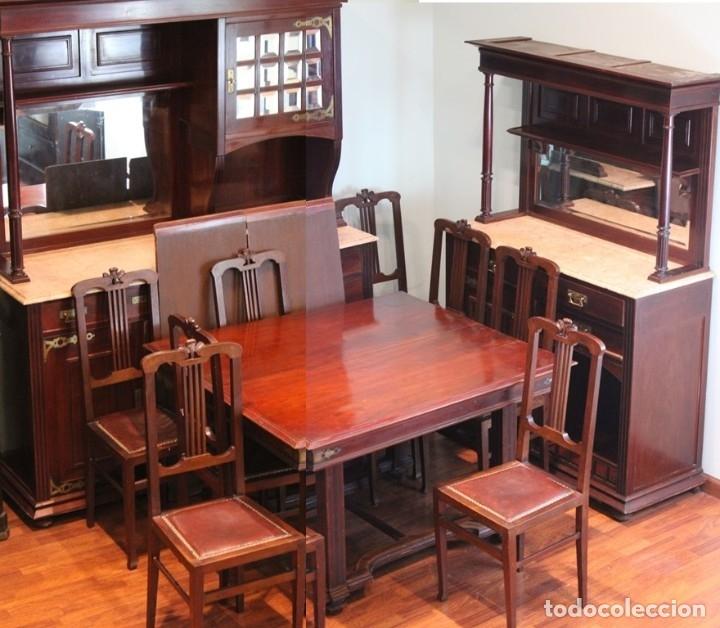 Antigüedades: Comedor inglés, años 20, caoba,dos aparadores, mesa y ocho sillas. - Foto 3 - 182293800