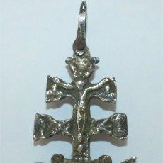 Antigüedades: CRUZ DE CARAVACA - RELICARIO - METAL PLATEADO.. Lote 182299281