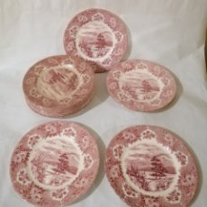 Antigüedades: 12 PLATOS PORCELANA INGLESA. ROJOS IRISTONE TABLEWARE ENGLISH ENGLAND. Lote 182306591