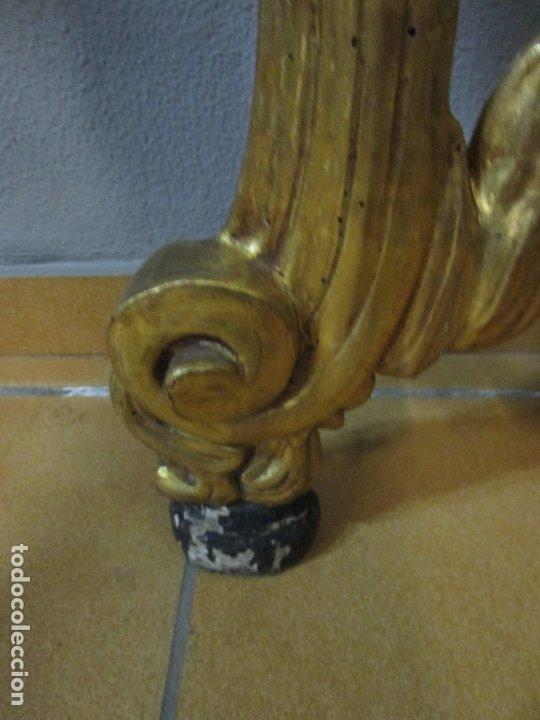 Antigüedades: Preciosa Consola Barroca - Carlos III - Madera Tallada y Dorada - S. XVIII - Foto 8 - 182308367