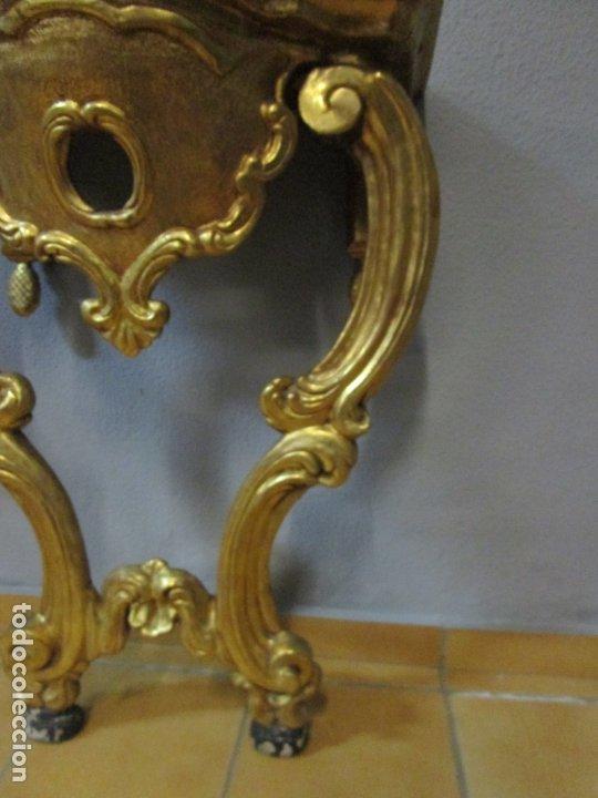 Antigüedades: Preciosa Consola Barroca - Carlos III - Madera Tallada y Dorada - S. XVIII - Foto 9 - 182308367