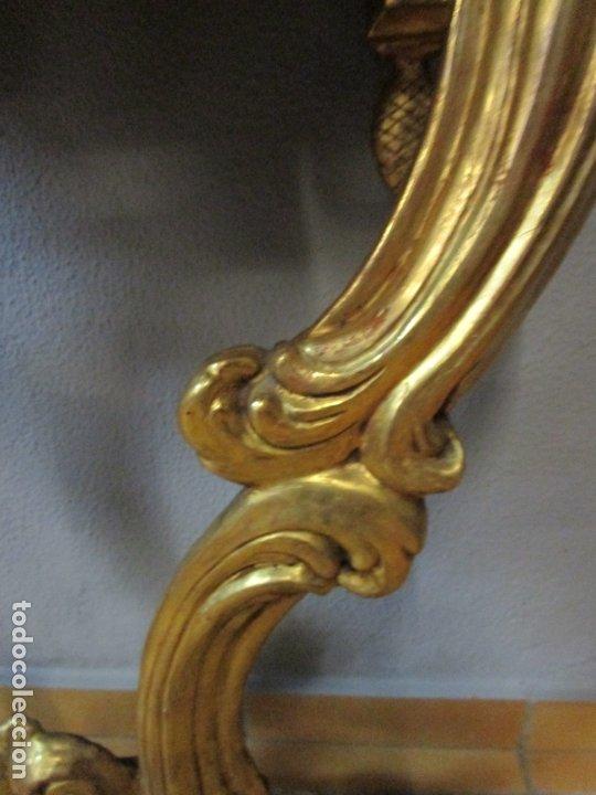Antigüedades: Preciosa Consola Barroca - Carlos III - Madera Tallada y Dorada - S. XVIII - Foto 10 - 182308367