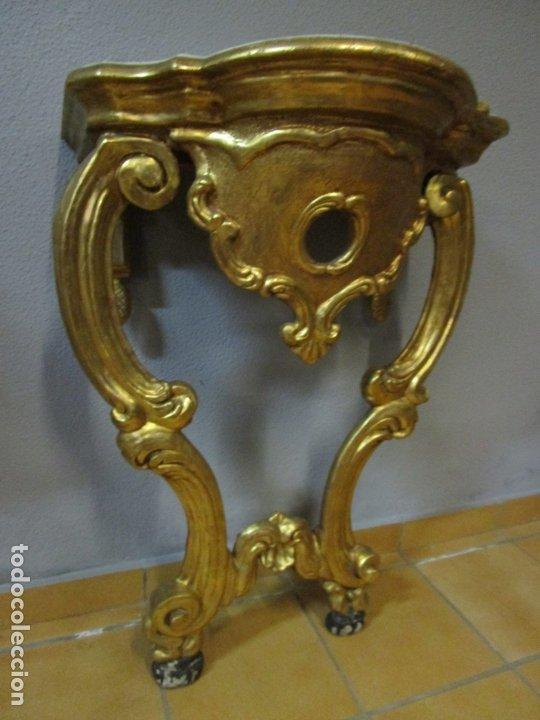 Antigüedades: Preciosa Consola Barroca - Carlos III - Madera Tallada y Dorada - S. XVIII - Foto 18 - 182308367