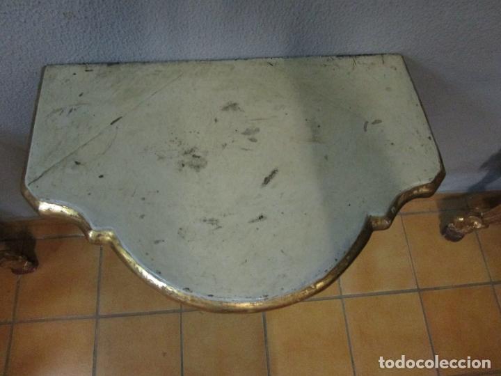 Antigüedades: Preciosa Consola Barroca - Carlos III - Madera Tallada y Dorada - S. XVIII - Foto 23 - 182308367