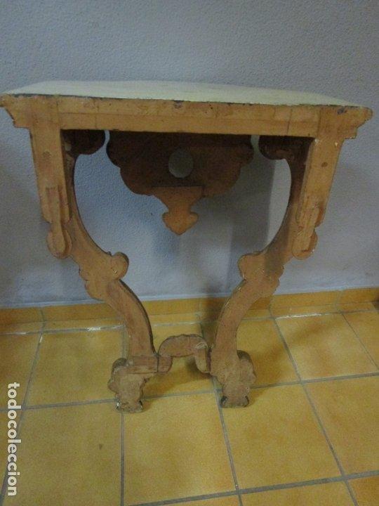 Antigüedades: Preciosa Consola Barroca - Carlos III - Madera Tallada y Dorada - S. XVIII - Foto 25 - 182308367