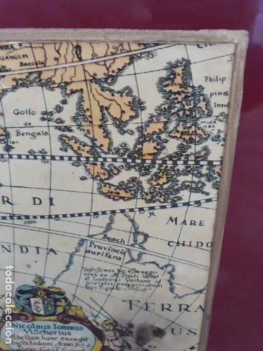 Antigüedades: Revistero con lamina de mapa Antiguo- bronce y hierro- Años 50 - Foto 4 - 182312323