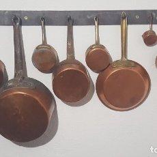 Oggetti Antichi: CAZOS DE COBRE Y SARTEN.. Lote 182316133