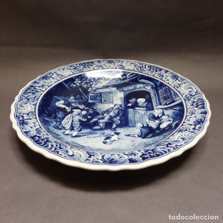 Antigüedades: Plato de pared de cerámica de Delft. Holanda 1960 - 1970 - Foto 2 - 182326296