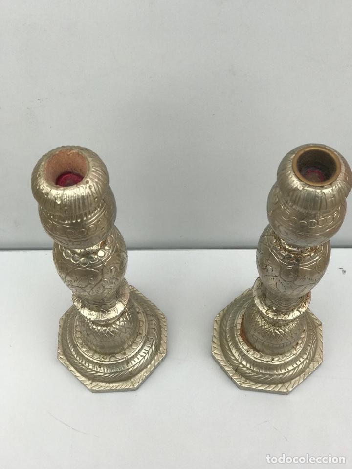 Antigüedades: Porta velas laminado de plata de ley - Foto 2 - 182330491