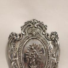 Antigüedades: BENDITERA ANTIGUA EN PLATA DE LEY. PILA BENDITERA PLATA ANTIGUA. VIRGEN INMACULADA PLATA.. Lote 182356075