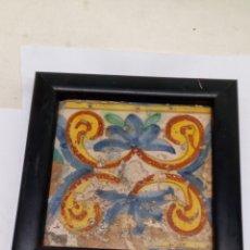 Antigüedades: AZULEJO CERAMICA ANTIGUO CON MARCO. Lote 182363940