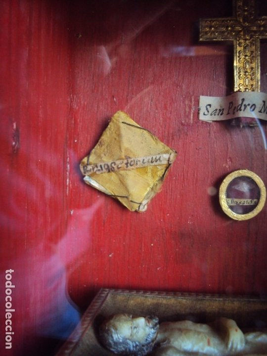 Antigüedades: (ANT-191108)ANTIGUA CAPILLA RELICARIO - CRISTO DE CERA Y RELIQUIAS - Foto 4 - 182371408