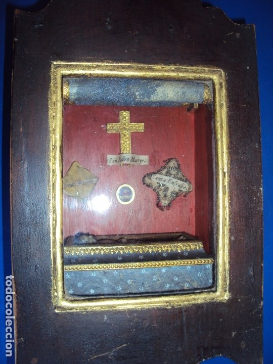 Antigüedades: (ANT-191108)ANTIGUA CAPILLA RELICARIO - CRISTO DE CERA Y RELIQUIAS - Foto 13 - 182371408