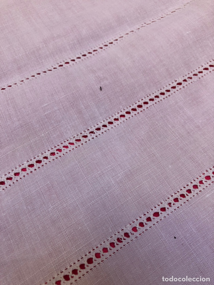 Antigüedades: Mantel manteleria hilo 180 x 240 cm bordado a mano - Foto 4 - 182375732