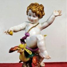Antigüedades: ANGELOTE. PORCELANA ESMALTADA. ALGORA. REF. L. 452. ESPAÑA. SIGLO XX. Lote 182380355