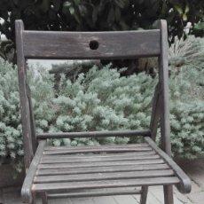 Antigüedades: SILLA PLEGABLE DE MADERA. Lote 182387061
