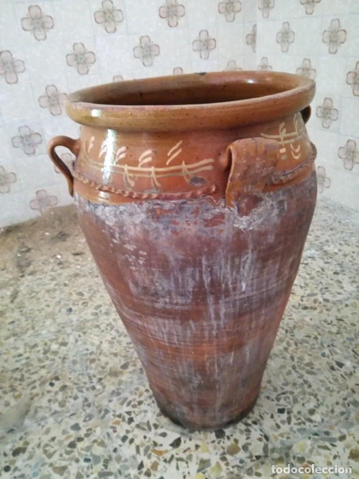 Antigüedades: ORZA O TINAJA DE MATANZA VIDRIADA CON TAPA. - Foto 2 - 176604802
