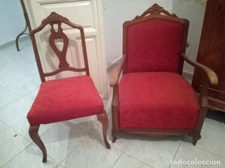 Antigüedades: Dos Butacas de dormitorio antiguas. - Foto 5 - 163978330