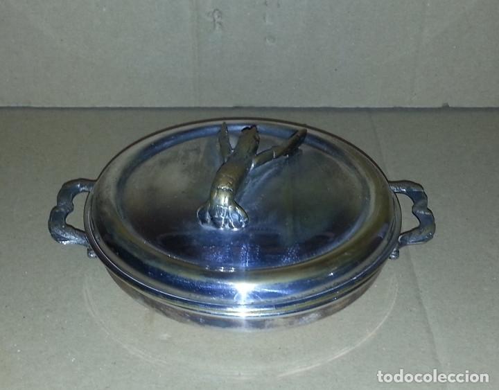 SALSERA METALICA CON TAPA .....16 CM DE DIAMETRO.. (Antigüedades - Técnicas - Rústicas - Utensilios del Hogar)