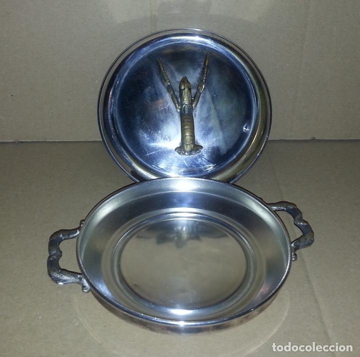 Antigüedades: SALSERA METALICA CON TAPA .....16 CM DE DIAMETRO.. - Foto 3 - 182432622