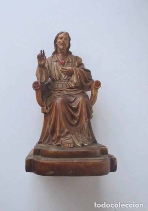 SAGRADO CORAZON DE JESUS ENTRONIZADO (Antigüedades - Religiosas - Varios)