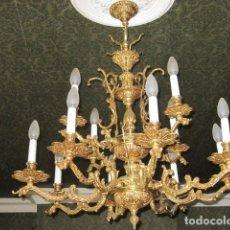 Antigüedades: ANTIGUA LAMPARA DE ARAÑA DE BRONCE.. Lote 182469673