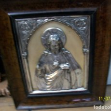 Antigüedades: ANTIGUO CUADRO DE CRISTO-BAÑADO EL PLATA. Lote 182476172