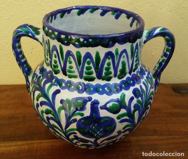 ANTIGUA ORZA DE DOS ASAS, CERÁMICA ESMALTADA, FAJALAUZA, GRANADA, PERFECTO ESTADO. (Antigüedades - Porcelanas y Cerámicas - Fajalauza)