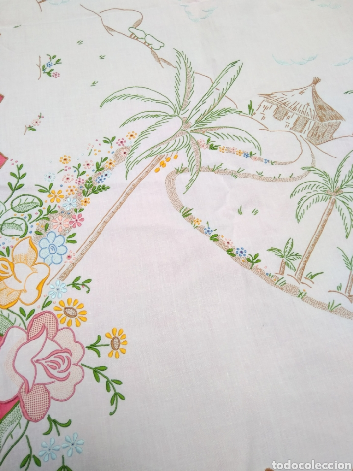 Antigüedades: Mantelería de hilo bordada a mano 250 x 170 cm con 12 servilletas motivo exótico - Foto 3 - 182482017