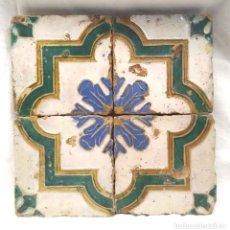 Antigüedades: PLAFÓN 4 AZULEJOS GOTICOS ESMALTE CUERDA SECA ARAGON S XVI. Lote 182483801