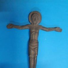 Antigüedades: CRISTO EN METAL. ANTIGUO. OBRA DE ARTE. 18, CTMS DE LARGO. Lote 182498427