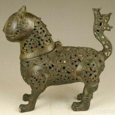 Antigüedades: MUY ANTIGUO INCENSARIO, QUEMDADOR DE INCIENSO CHINO, GATO, SIGLO XVIII, DINASTIA QING, BRONCE. Lote 182503343