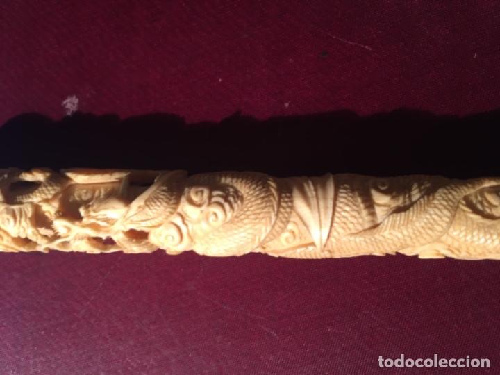 Antigüedades: CHINA - ANTIGUO BASTON PUÑO DE MARFIL TALLADO FINAL S. XIX PRINCIPUIO XX . CAÑA DE BAMBU - Foto 30 - 182505383
