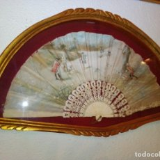 Antigüedades: ANTIGUO ABANICO PINTADO A MANO CON ABANIQUERA.. Lote 182508943