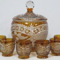 Antigüedades: PRECIOSA PONCHER CON JUEGO DE 6 COPAS. CRISTAL TALLADO. BOHEMIA. Lote 182539210