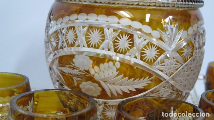 Antigüedades: PRECIOSA PONCHER CON JUEGO DE 6 COPAS. CRISTAL TALLADO. BOHEMIA - Foto 4 - 182539210