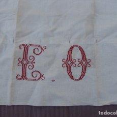 Antigüedades: FUNDA ALMOHADA HILO. INICIALES BORDADAS. S XIX. Lote 182542721