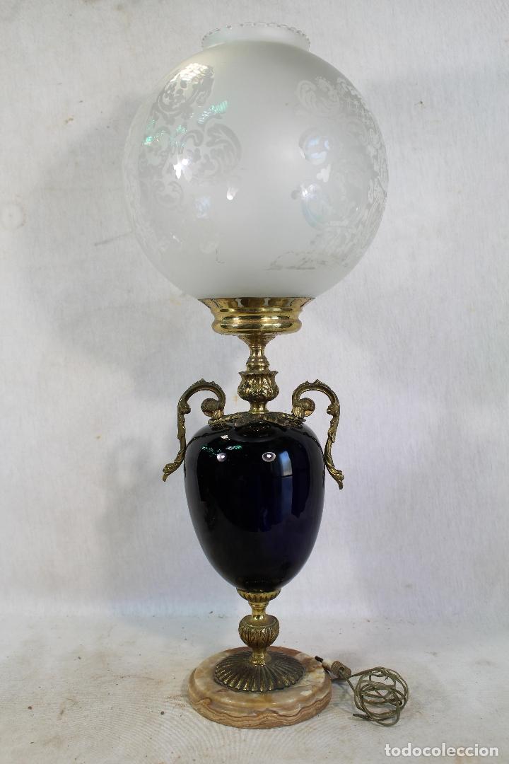 Antigüedades: lampara de sobremesa en bronce porcelana marmol y cristal - Foto 2 - 182558873